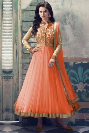 Buy Net Party Wear Anarkali Suit in Peach Colour Online