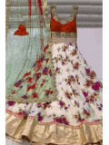 Georgette Party Wear Anarkali Suit in Red and White Colour