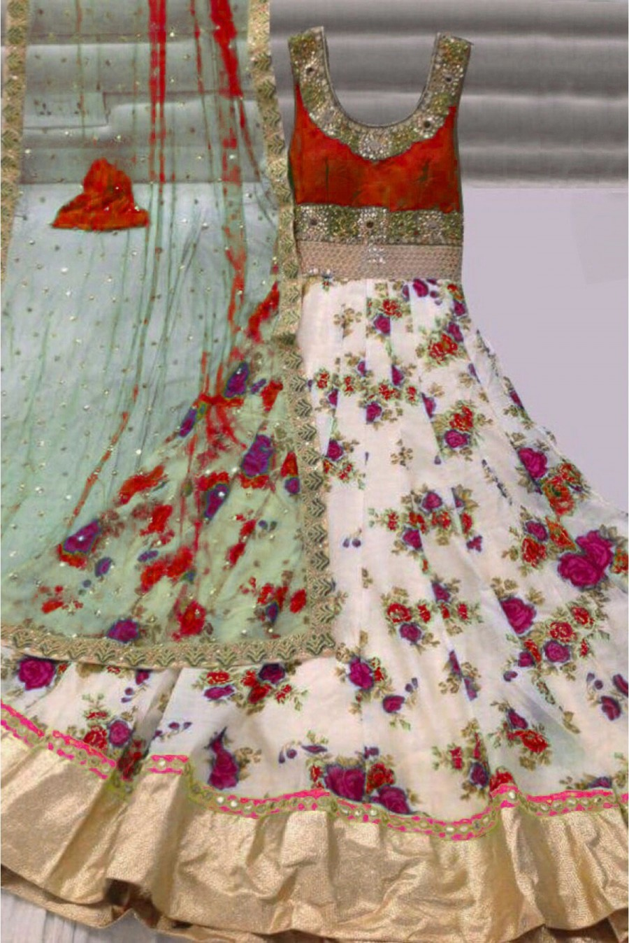 Buy Georgette Party Wear Anarkali Suit in Red and White Colour Online