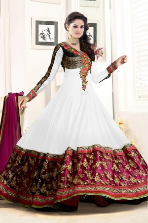 Buy Georgette Semi Stitched Anarkali Salwar Kameez In White Colour Online