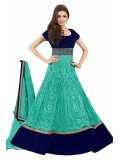 Bollywood Drashti Dhami Net and Velvet Anarkali Salwar Suit In Blue Colour