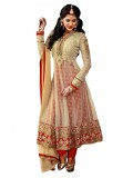 Net Semi Stitched Anarkali Suit In Cream Colour