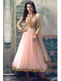 Net Anarkali Party Wear Suit in Light Pink and Beige Colour
