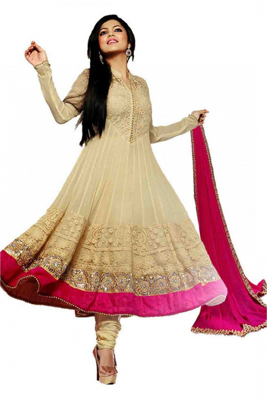 77402c850a2cf Buy Drashti Dhami Georgette and Net Semi Stitched Anarkali Suit In Cream  Colour Online