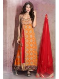 Georgette Semi Stitched Anarkali Suit In Orange Colour