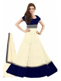 Bollywood Drashti Dhami Net and Velvet Anarkali Salwar Suit In White Colour