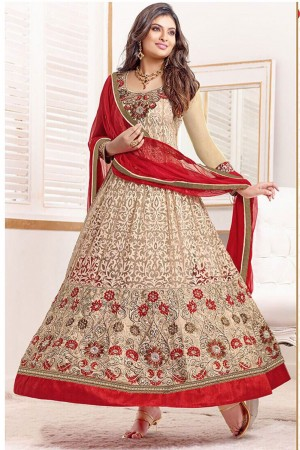 Buy Georgette Anarkali Party Wear Suit in Beige Colour Online