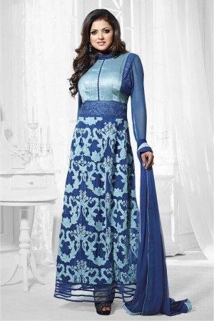 Buy Bollywood Drashti Dhami Georgette Party Wear Anarkali Suit in Blue Colour Online
