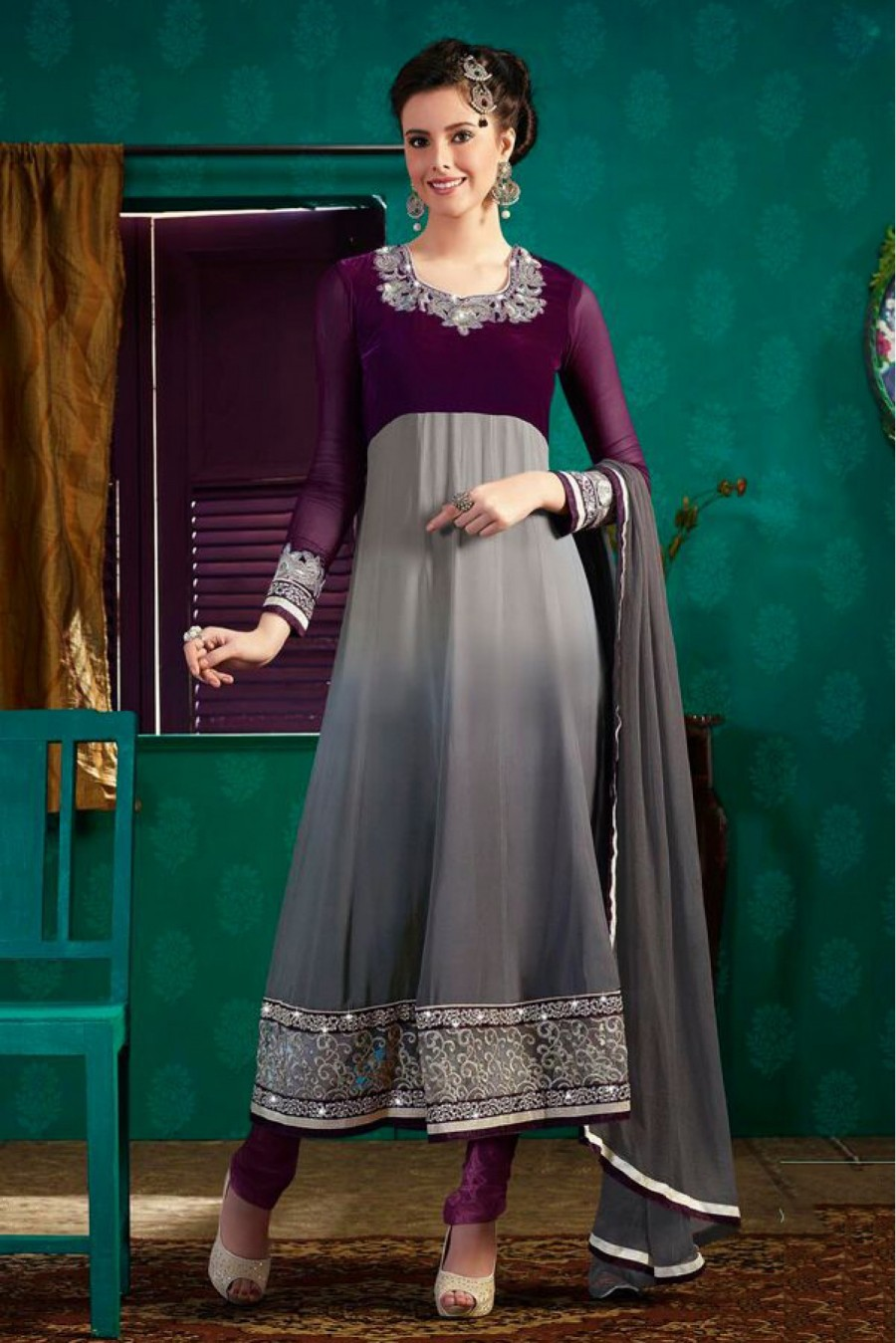 Buy Georgette Party Wear Anarkali Suit in Purple Colour  Online