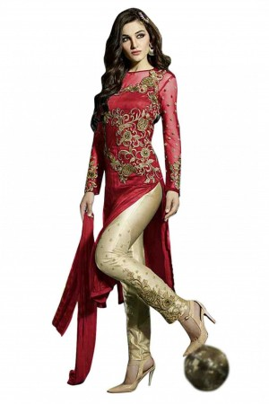 Buy Net Party Wear Straight Suit in Red Colour Online