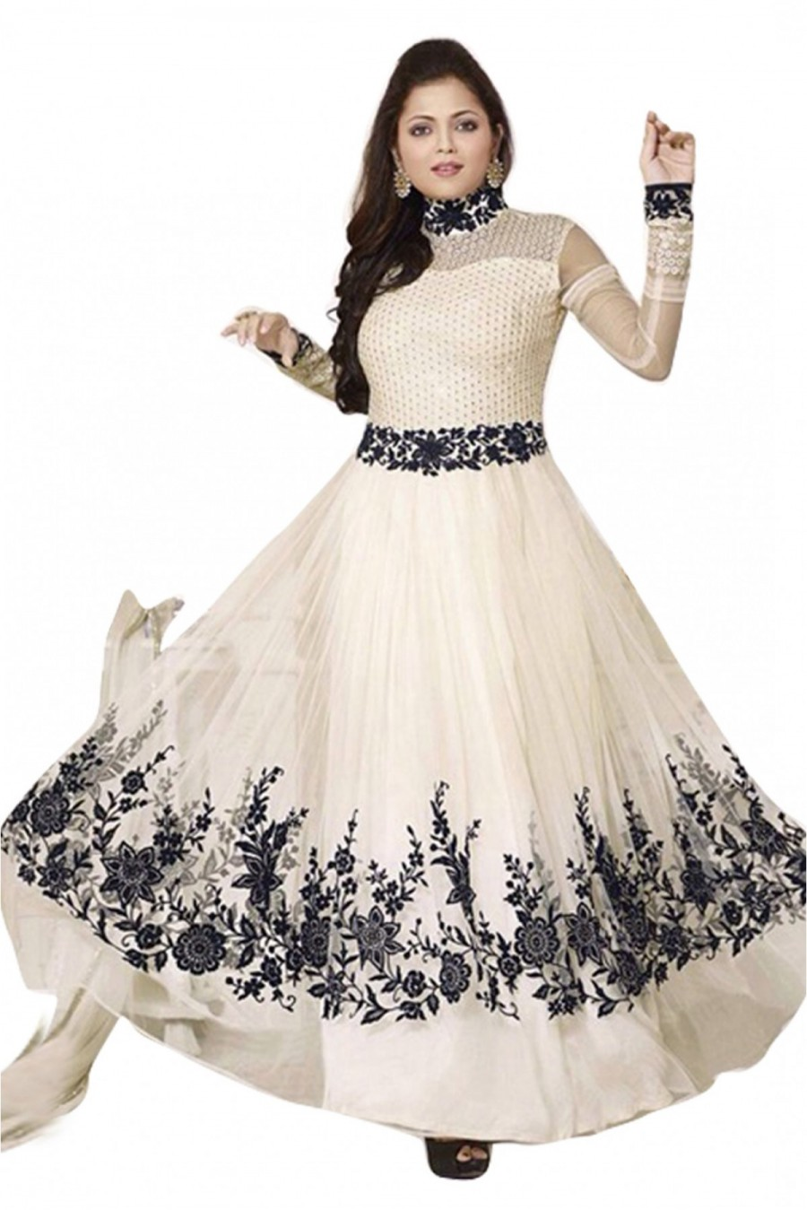 Buy Net Anarkali Salwar Suit in Off White Colour Online