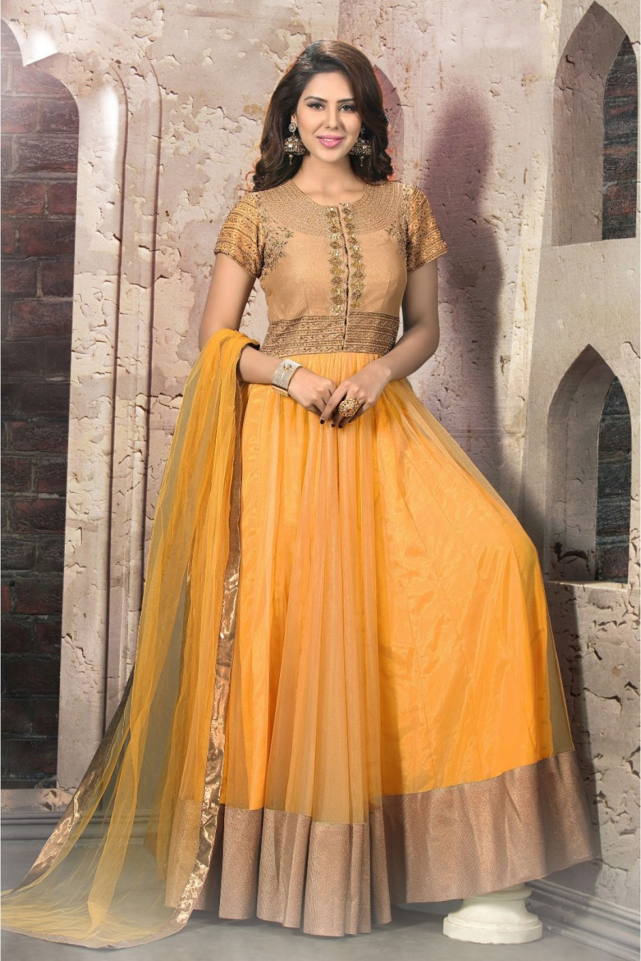 Buy Net and Silk Semi Stitched Anarkali Suit In Yellow Gold Colour  Online