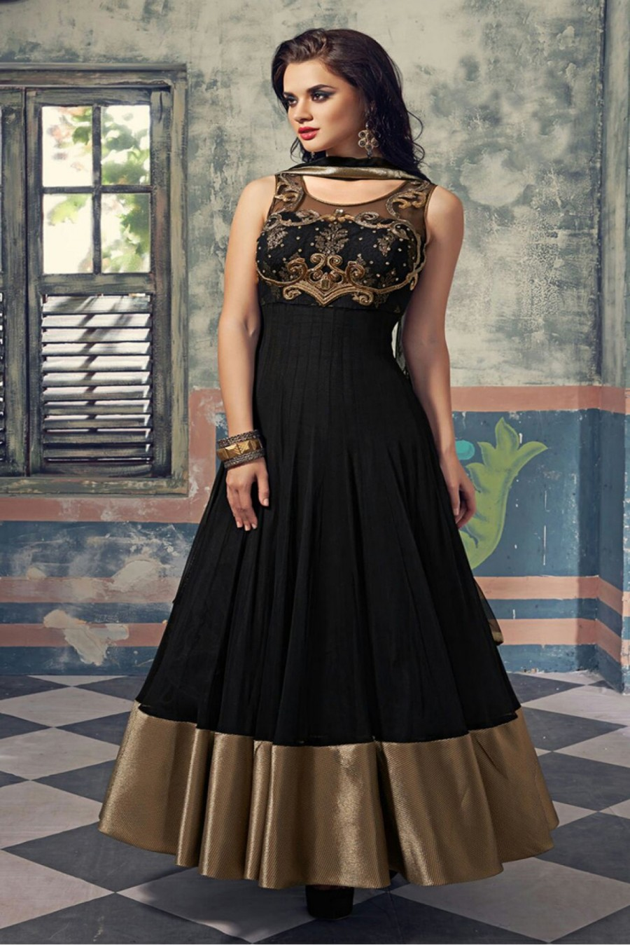 Soft Net Party Wear Anarakli Suit In Black Colour | 546925