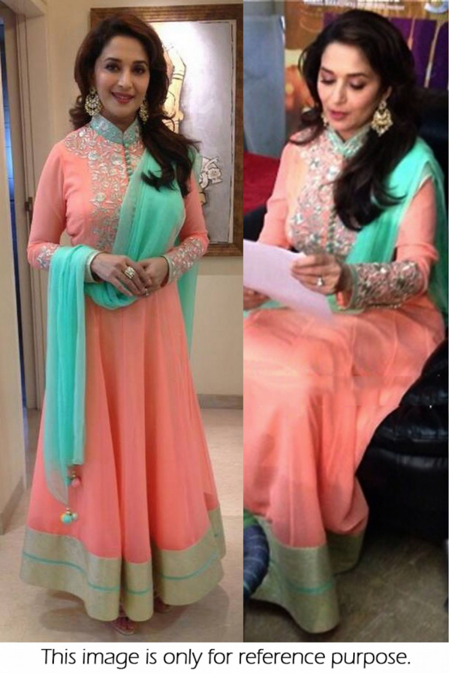 Bollywood Style Madhuri Dixit 60 GM Georgette Suit In Peach Colour NC1299