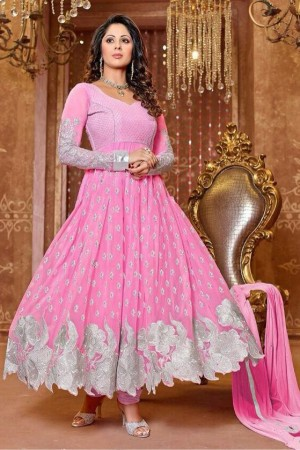Buy Bollywood Sangita Ghosh Georgette Party Wear Anarkali Suit in Pink Colour  Online