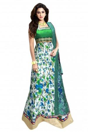Buy Bhagalpuri Party Wear Anarkali Suit in Green Colour Online