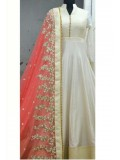 Party Wear Banglori Silk Anarkali Suit in Off White and Red Colour