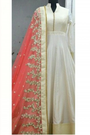 Buy Party Wear Banglori Silk Anarkali Suit in Off White and Red Colour Online