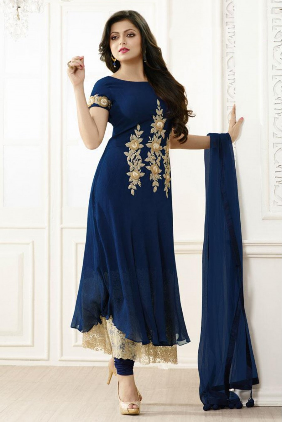 c274fde7602 Buy Bollywood Drashti Dhami Party Wear Georgette Straight Suit in Blue  Colour Online
