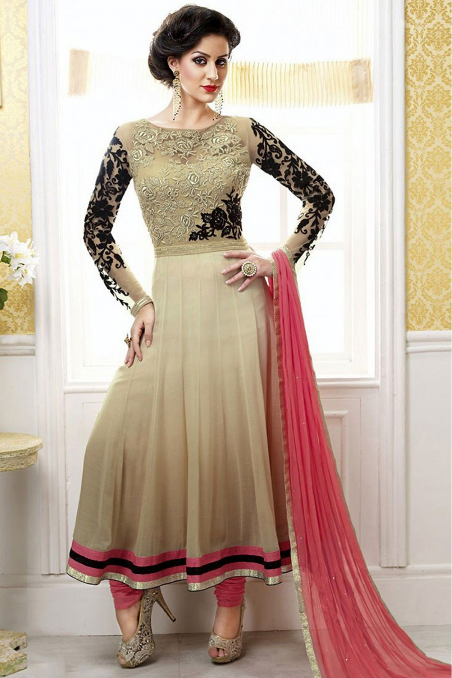 4e0ca44535 Get Georgette Party Wear Anarkali Suit in Beige Colour at best price ...