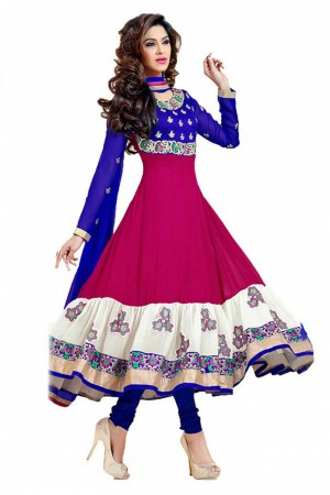 Buy Georgette Anarkali Party Wear Suit in Pink and Blue Colour  Online
