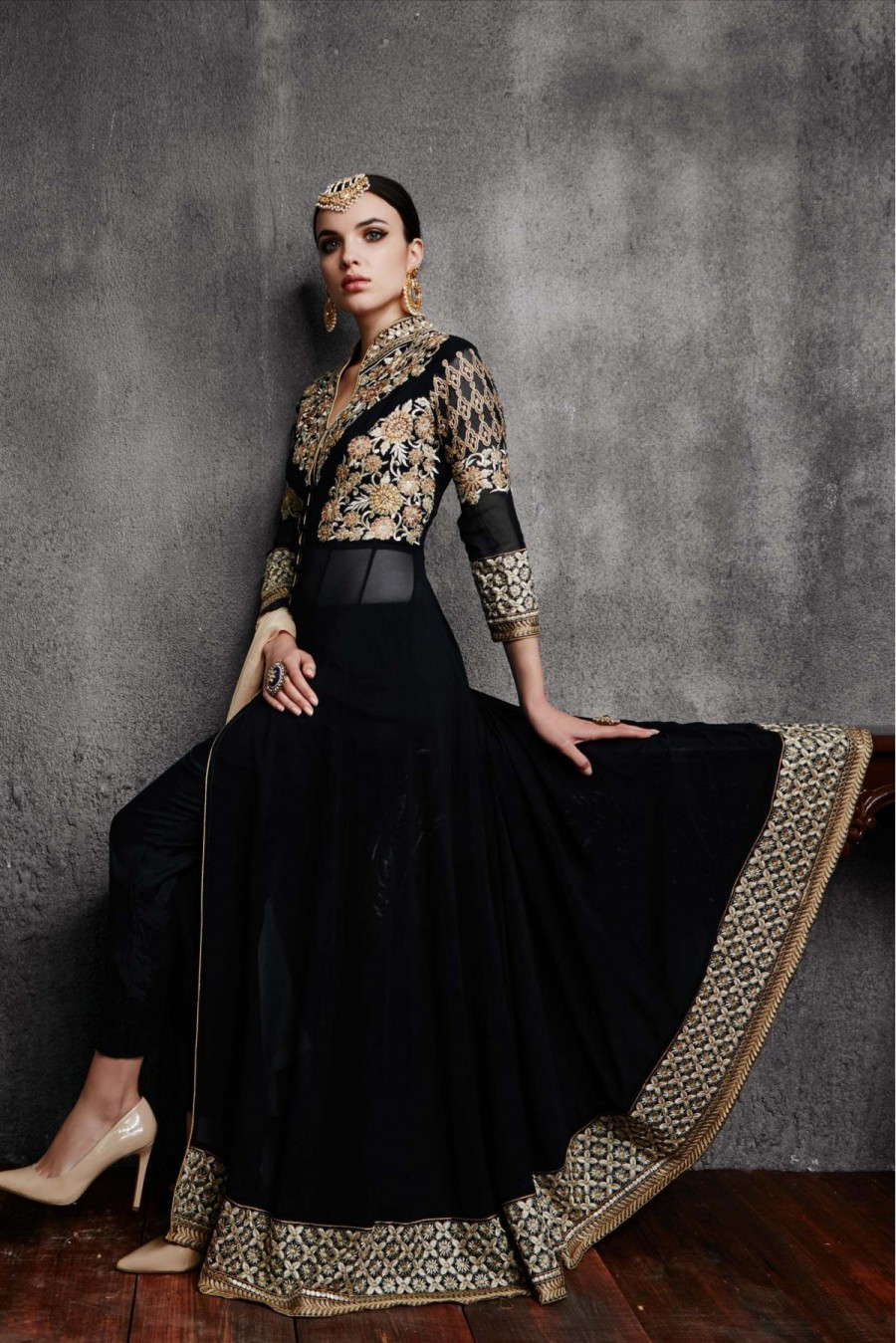 Buy Georgette Party Wear Anarkali Suit in Black Colour Online