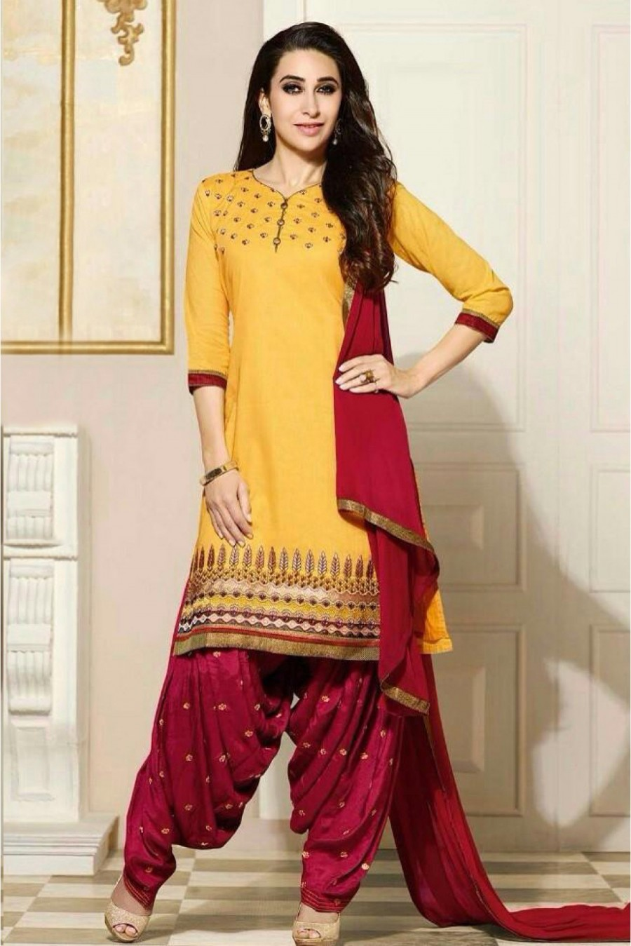 1d2ae815c3 Buy Bollywood Karishma Kapoor Cotton Party Wear Patiala Suit in Yellow  Colour Online