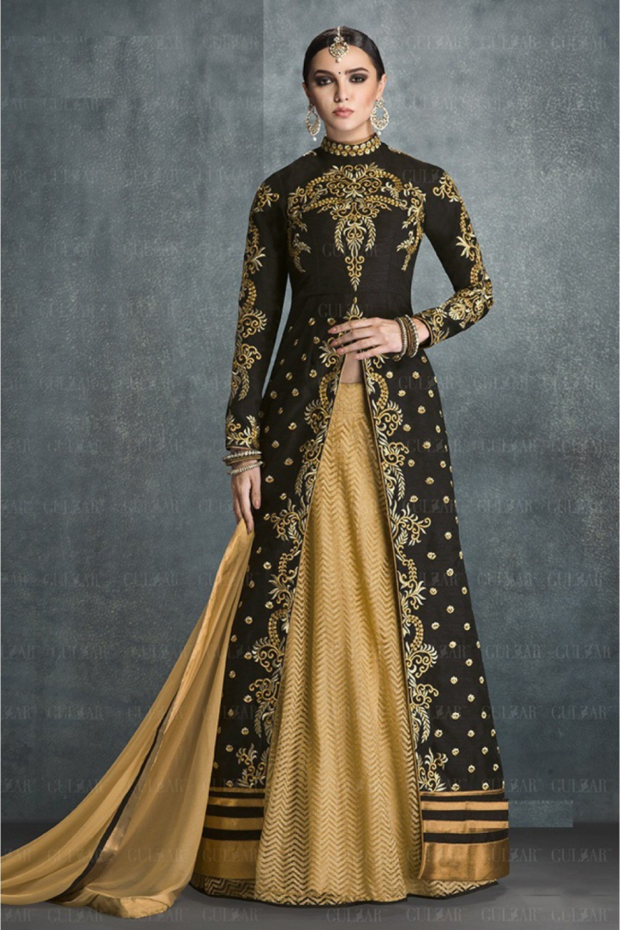 f674b3fced5 Buy Banglori Silk Semi Stitched Party Wear Anarkali Suit In Black and Beige  Colour Online