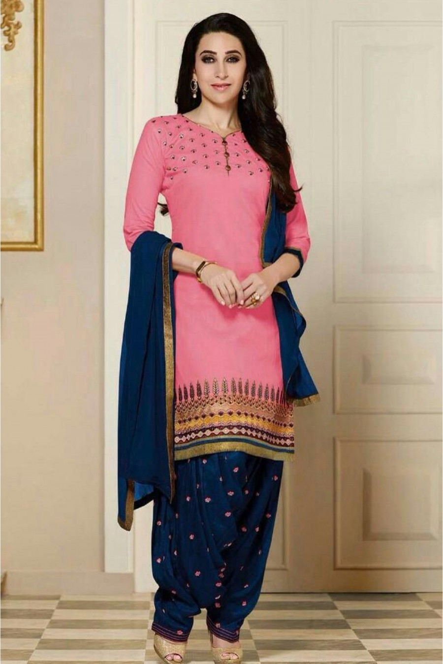 519a257a4b Buy Bollywood Karishma Kapoor Cotton Party Wear Patiala Suit in Pink Colour  Online