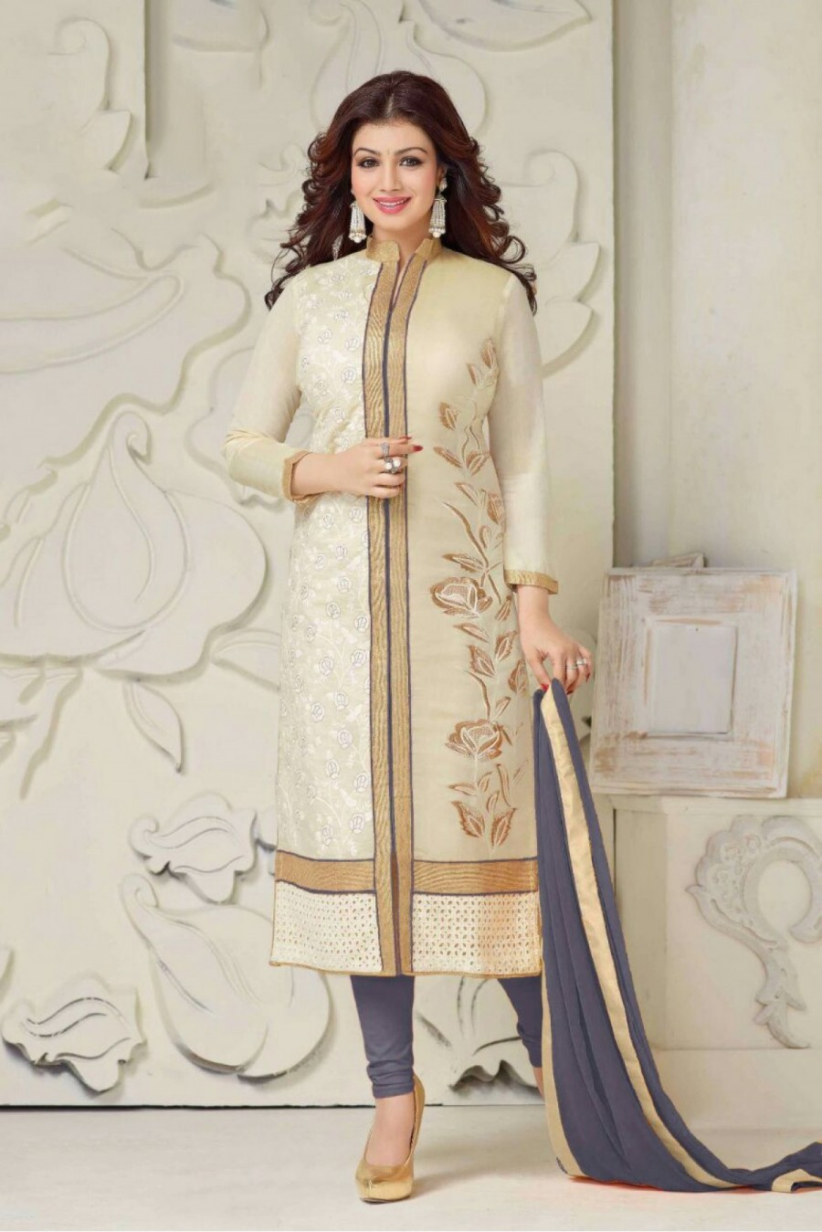 91827718b7 Buy Bollywood Style Ayesha Takia Cotton Party Wear Churidar Suit in Beige  and Grey Colour Online