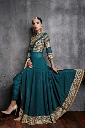 Buy Georgette Party Wear Anarkali Suit in Green Colour Online