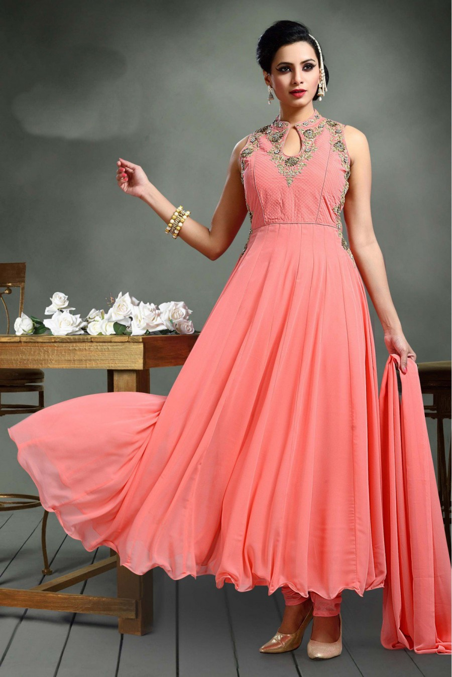 955cbae0a Purchase Online |Georgette Party Wear Anarkali Suit in Peach Colour ...