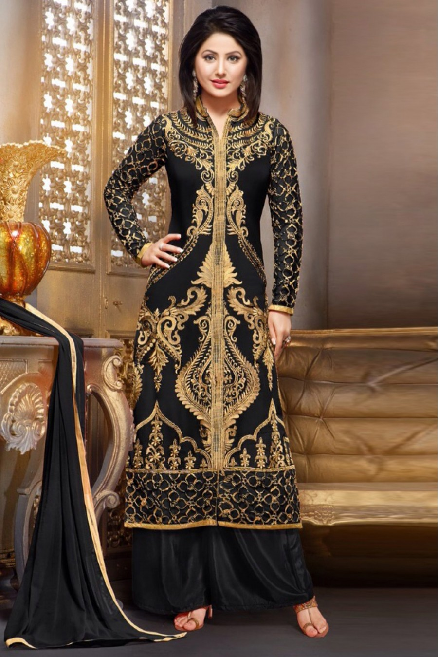 f49a2733b2 Buy Bollywood Hina Khan Georgette Party Wear Palazzo Pant Suit In Black  Colour Online