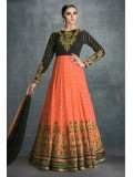 Faux Georgette Party Wear Anarkali Suit In Black and Peach Colour