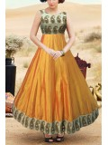 Taffeta Party Wear Anarkali Suit in Yellow Colour