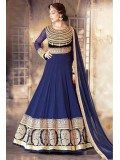 Georgette Semi Stitched Party Wear Anarkali Suit In Blue Colour