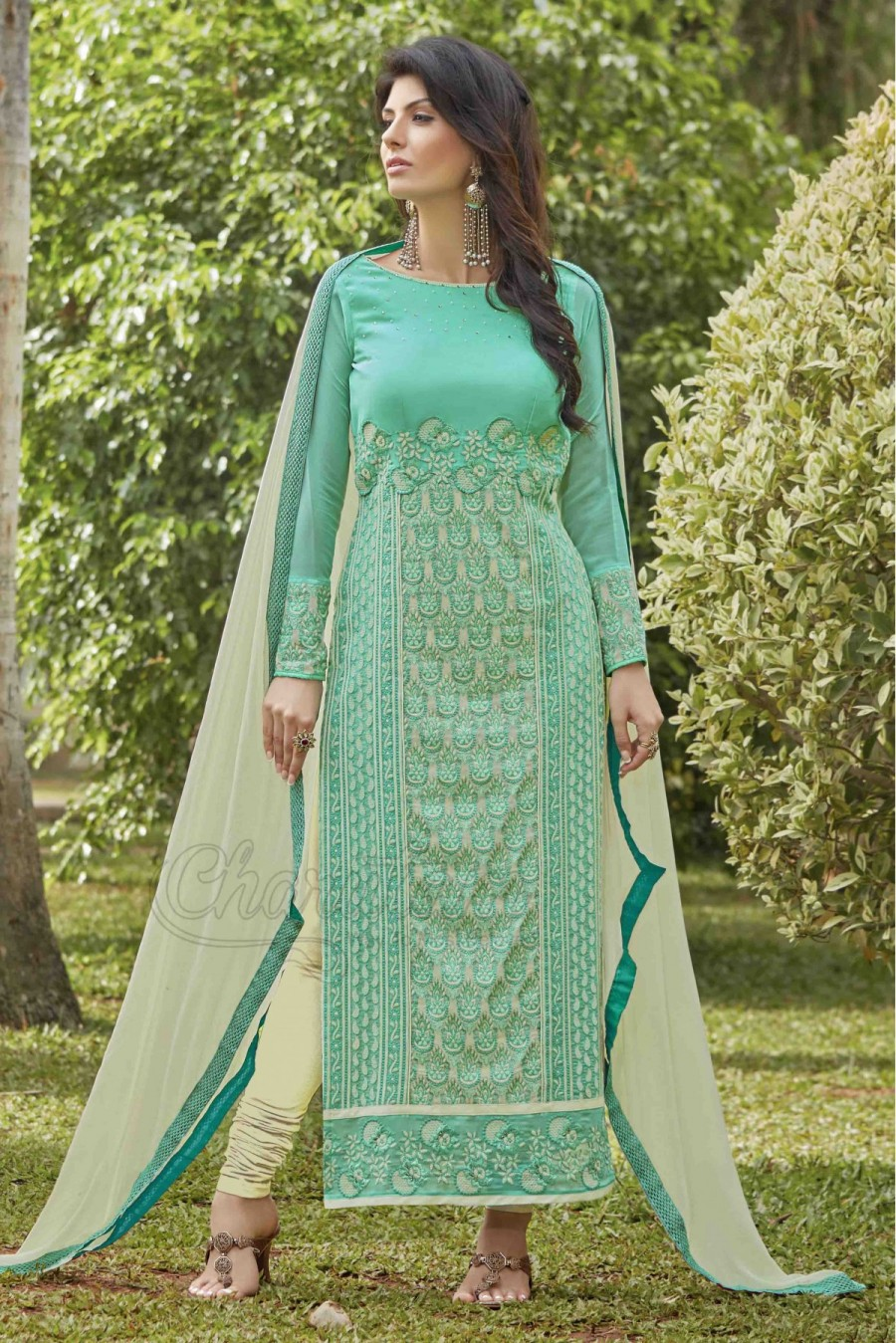 a77865f941 Get Georgette Party Wear Straight Suit in Sea Green Colour at best ...