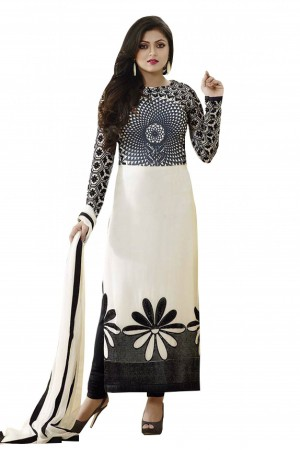 Buy Bollywood Drashti Dhami Crepe Casual Wear Straight Suit in White Colour Online