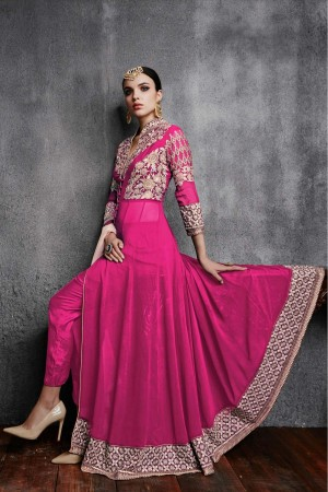 Buy Georgette Party Wear Anarkali Suit in Pink Colour Online