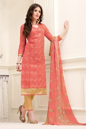 Buy Chanderi and Cotton Casual Wear Pant Style in Orange Colour  Online