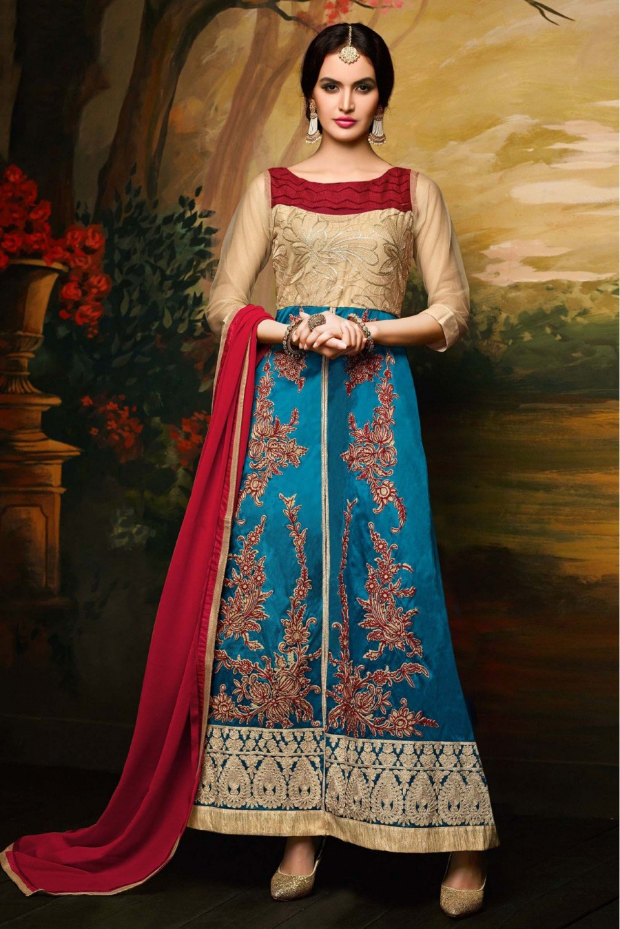 Buy Banglori Silk and Net Party Wear Anarkali Suit in Beige and Teal Colour Online
