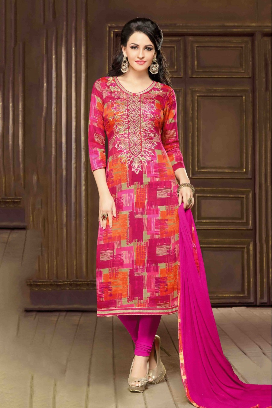 Buy Cambric Party Wear Churidar Suit In Orange And Pink Colour  Online