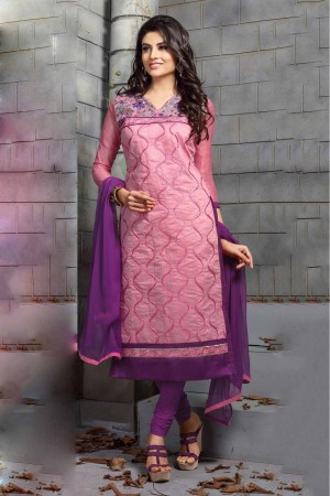 Buy Chanderi and Cotton Party Wear Churidar Suit In Pink Colour Online