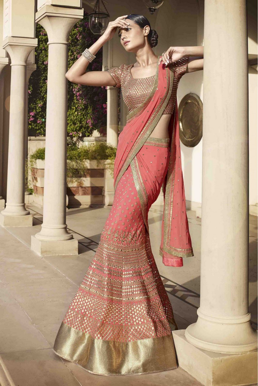 Buy Nakkashi Georgette Party Wear Lehenga Choli in Peach Colour Online