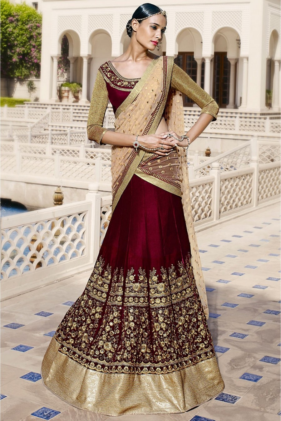 2660a3345 Buy Velvet and Net Party Wear Lehenga Choli in Beige and Maroon Colour  NC2384 Online