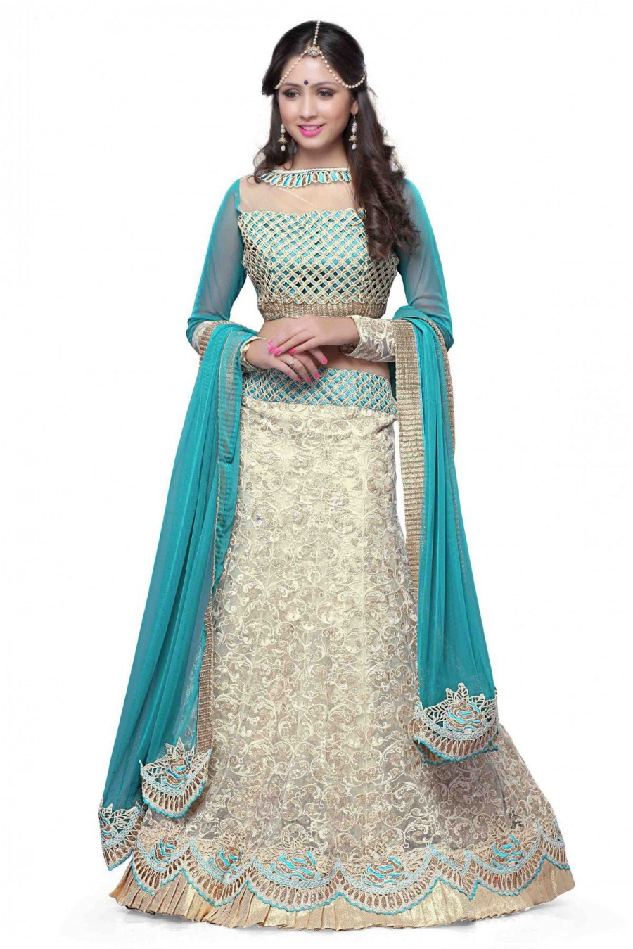 Online Shopping Net Party Wear Lehenga Choli in Blue and Off White ...