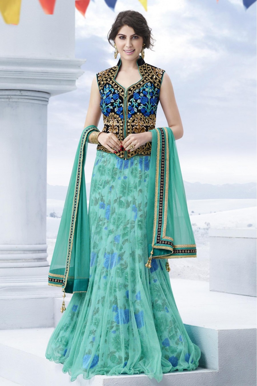 6f40e37168 Shop for Net Semi Stitched Designer Lehenga Choli In Sky Blue Colour ...