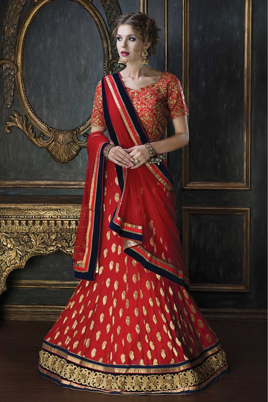 c41f25093 Buy Online | Jacquard Party Wear Bridal Lehenga Choli in Red Colour ...