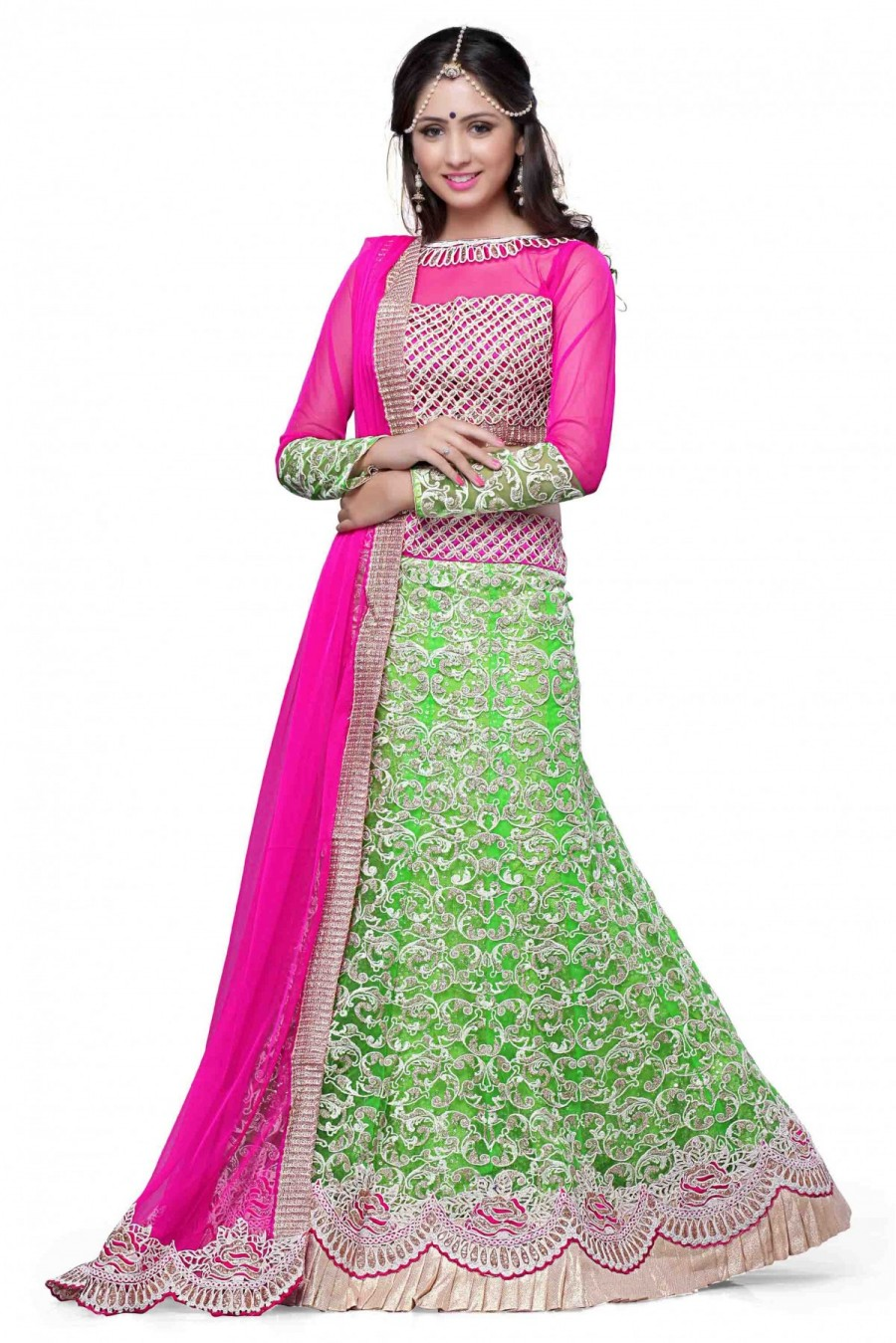 e5deee9467 Shop for Net Party Wear Lehenga Choli in Green and Pink Colour   547235
