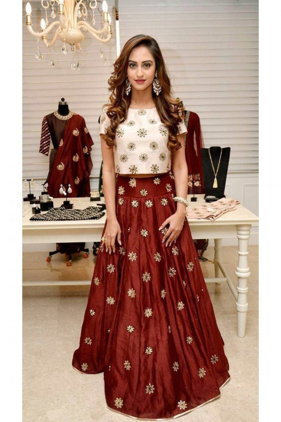 Buy Bollywood Krystle Dsouza Banglori Silk And Shantoon Party Wear Lehenga Choli In Brown And White Colour Online